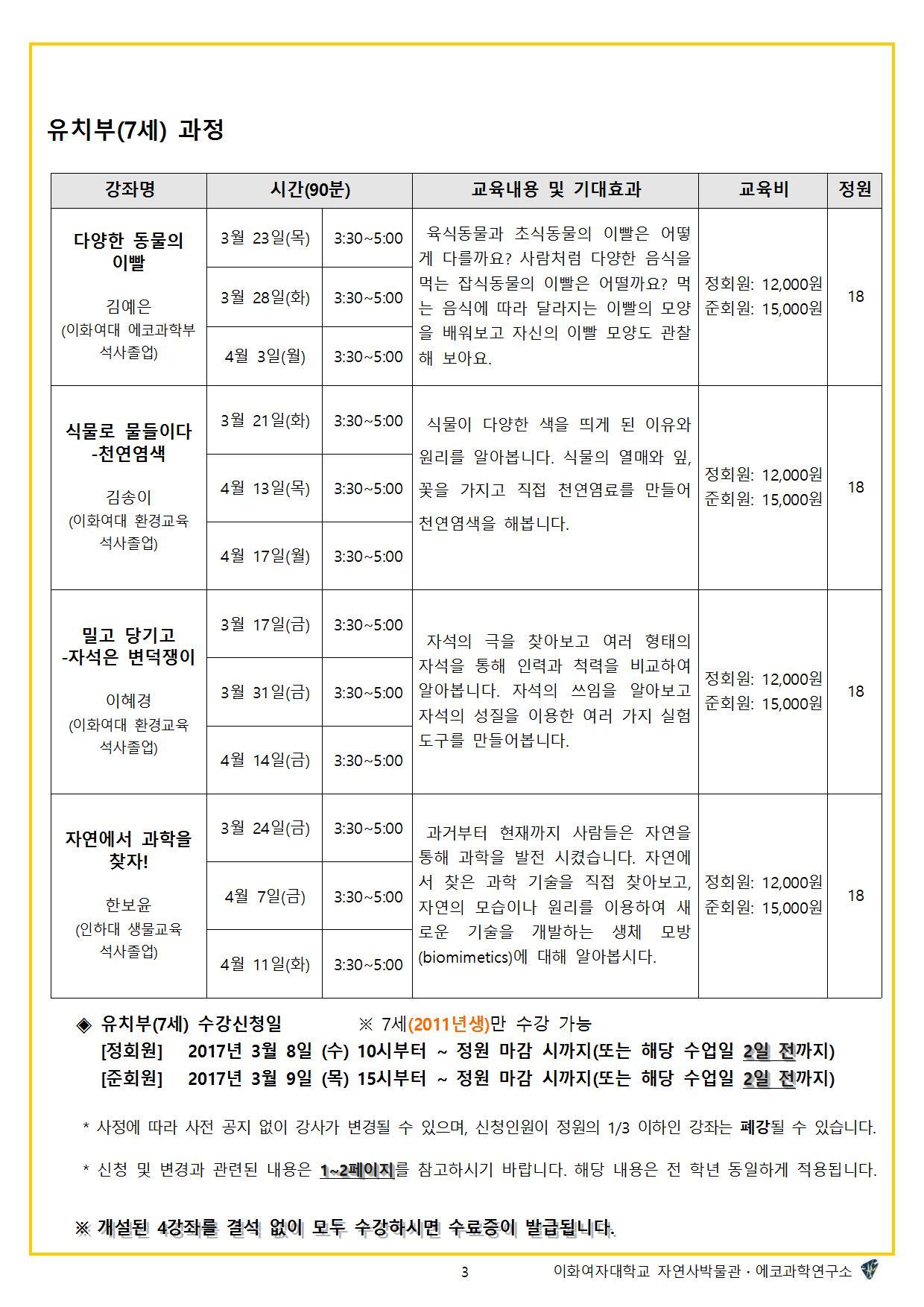 2017학년도 봄학기 자연사교실3